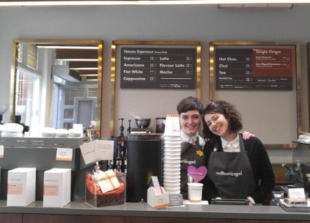 Baristas Victoria (left) and Diana (right) at Purdy's Coffeeangel in Dublin, Ireland.